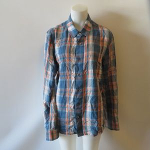 JAMES PERSE BLUE ORANGE PLAID BUTTON DOWN TOP SZ 2